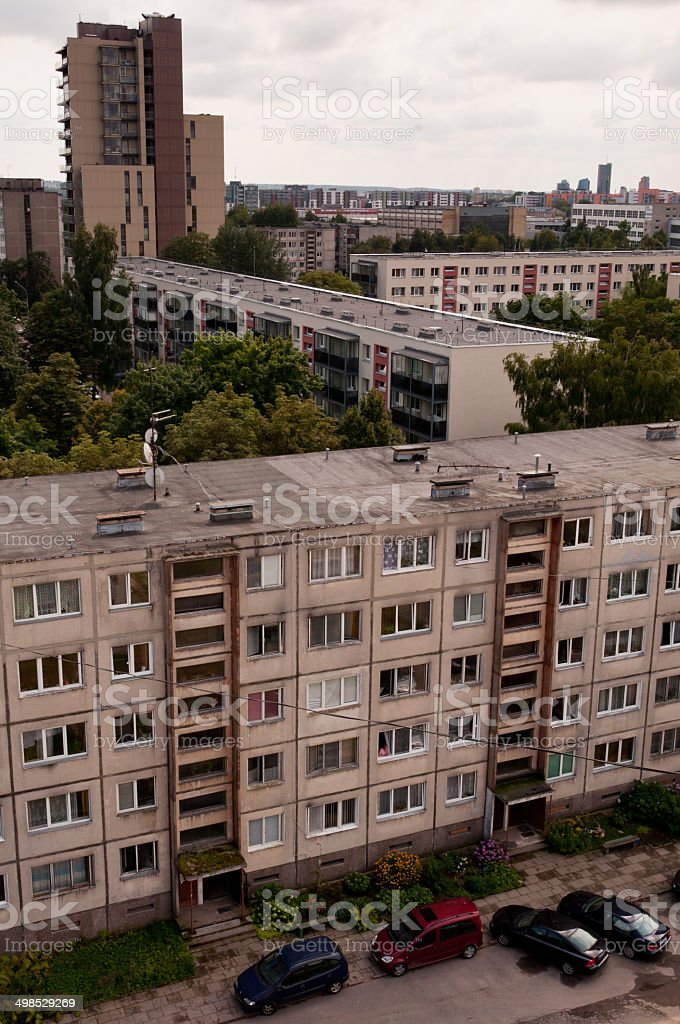 Typical socialist block of flats in Vilnius stock photo