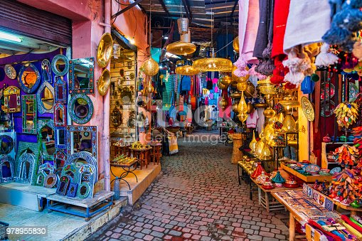 Typical souk market in the Medina of Marrakech, Morocco