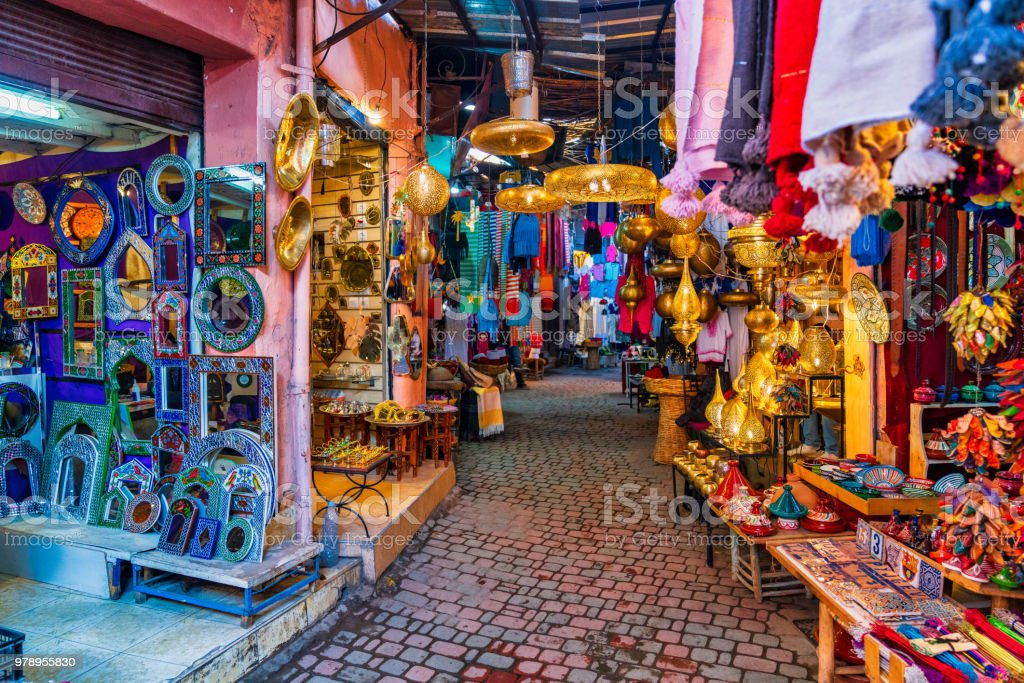 Typical souk market in the Medina of Marrakech, Morocco stock photo