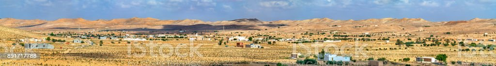 Typical South Tunisian landscape at Ksour Jlidet near Tataouine stock photo