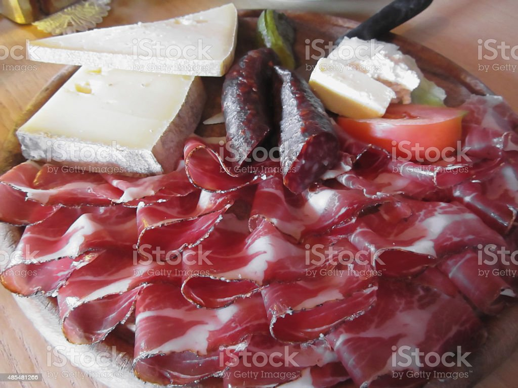 Typical South Tyrolean snack stock photo