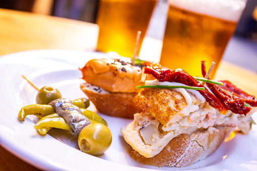 Typical Spanish aperitif with beer
