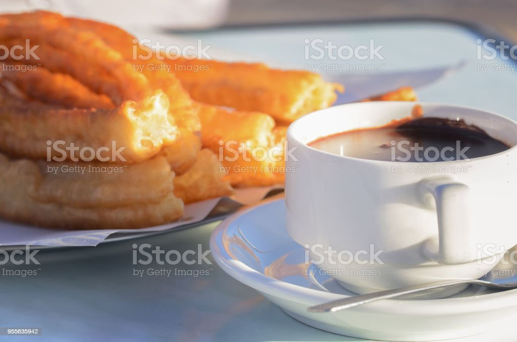 typical spanish snack churros are deepfried pastries and served with