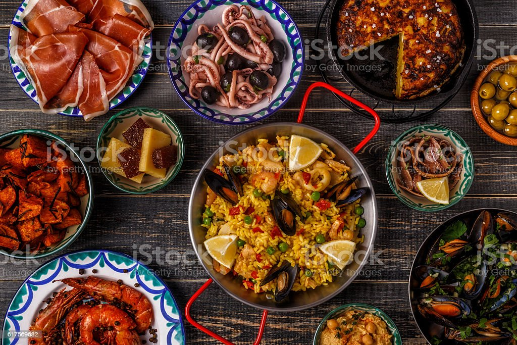 Typical spanish tapas concept, top view. ストックフォト