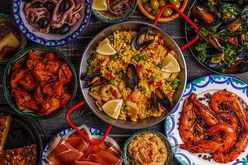 Typical Spanish Tapas Concept Top View Stock Photo - Download Image Now