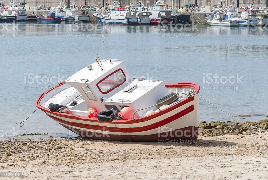 Typical Spanish wooden fishing boat stock photo