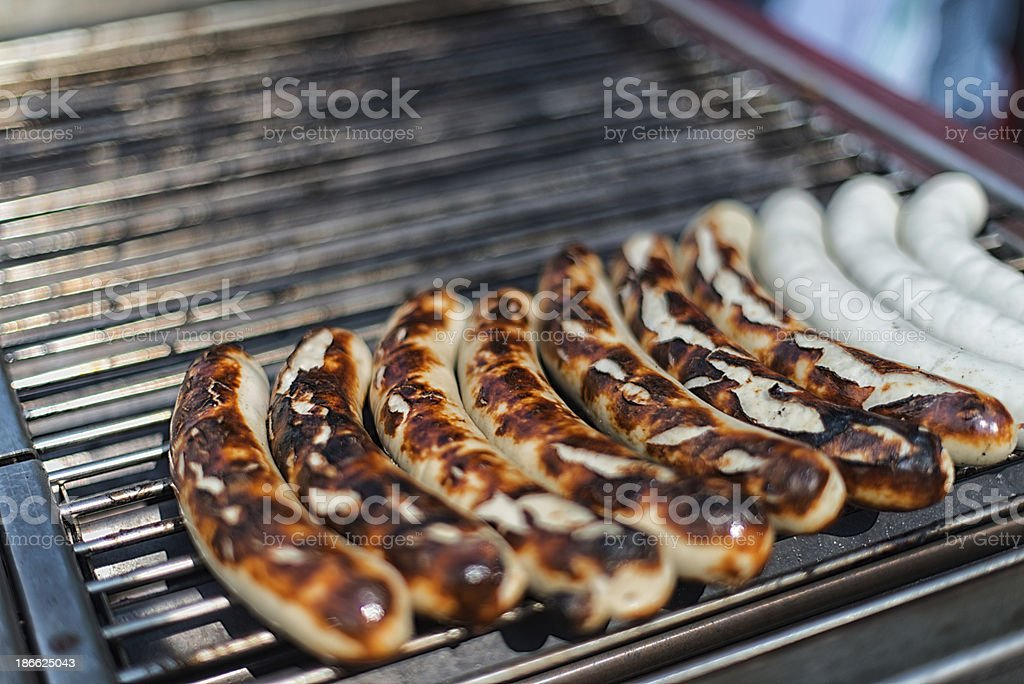 Typical St. Galler Bratwurst on grill royalty-free stock photo