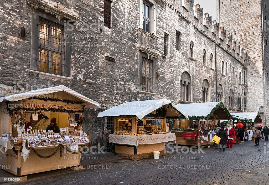 Typical stalls of the Christmas markets in Trento, Italy. stock photo