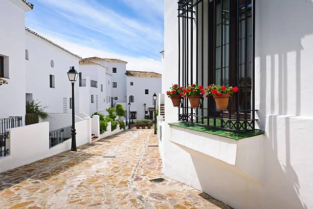 Typical street Andalucia, Pueblos blancos, Marbella. stock photo