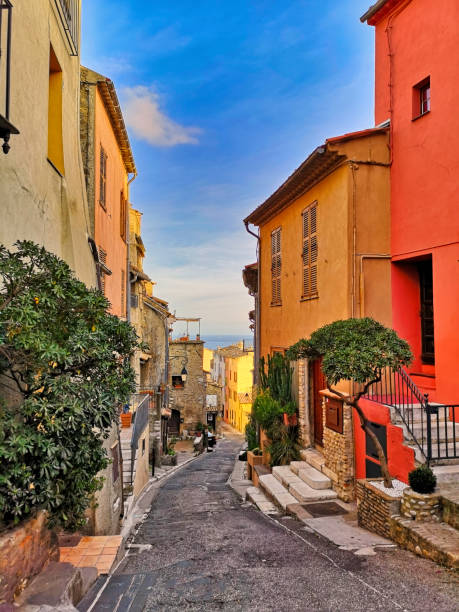 Typical street in a Provencal village, south of France, Cagnes-sur-Mer stock photo