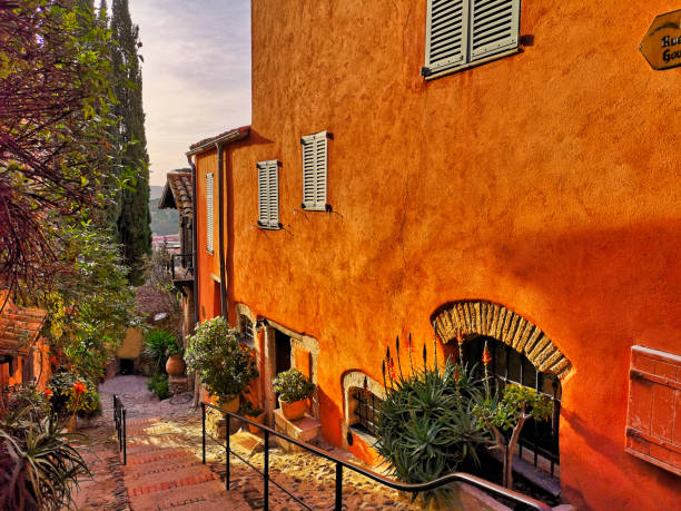 Typical street in a provencal village, south of France on the french Riviera stock photo