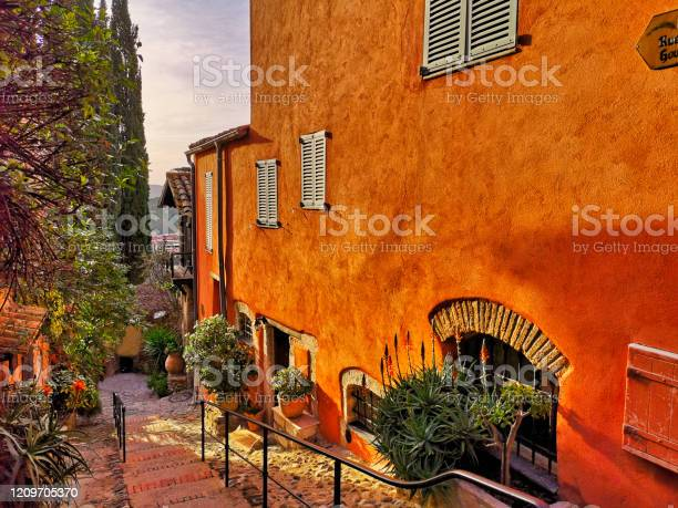 Typical Street In A Provencal Village South Of France On The French Riviera Stock Photo - Download Image Now