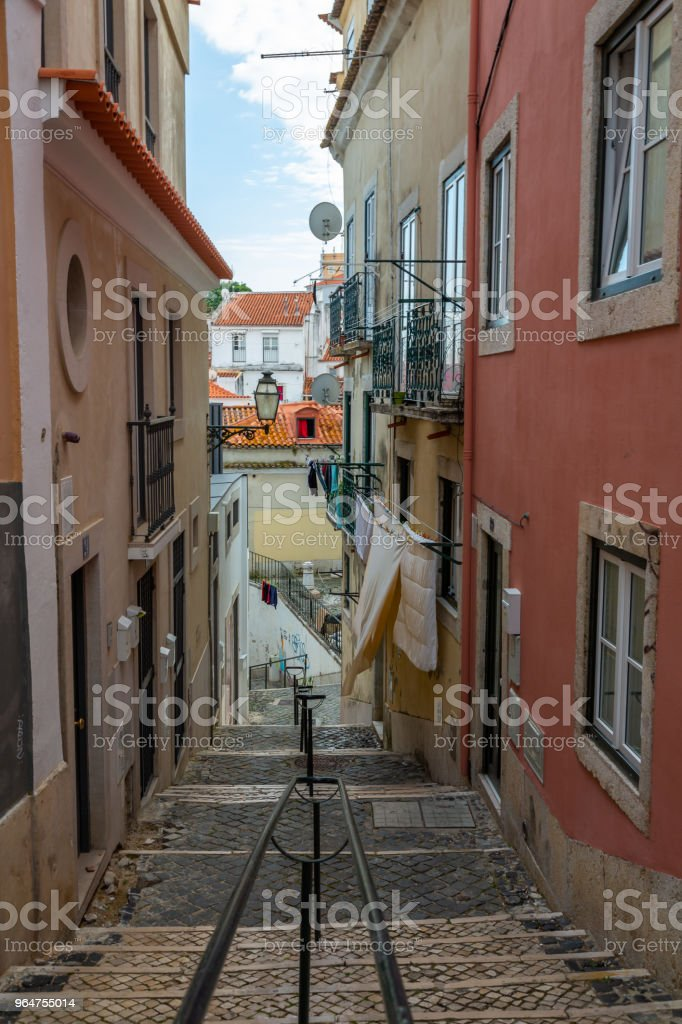 Typical Street in Alfama, Lisbon royalty-free stock photo