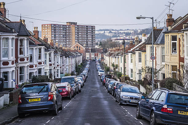 Typical street in Bedminster, Bristol, UK stock photo
