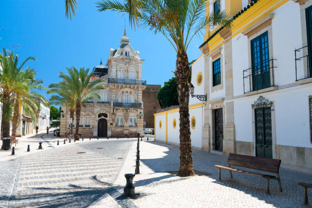 typical street in faro, portugal - portugal stock photos and pictures
