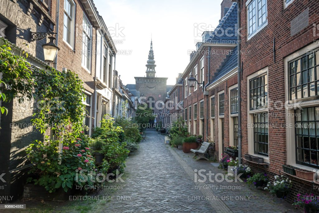 Typical street in Haarlem stock photo