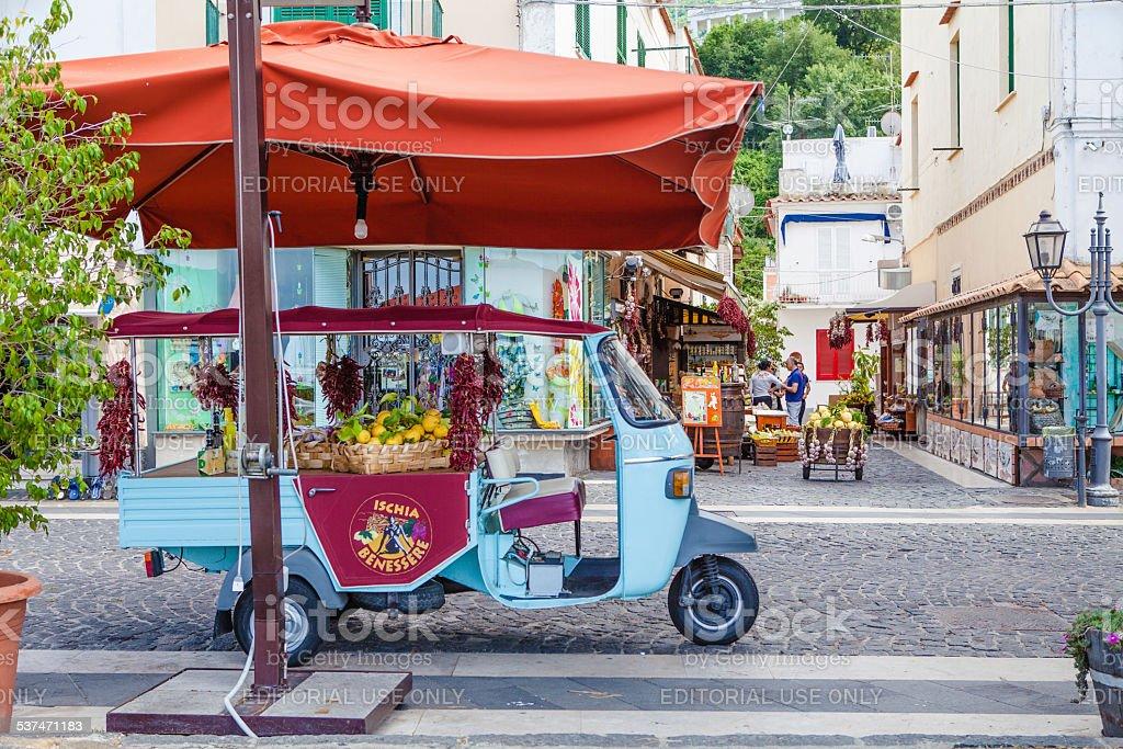 Typical Street in Ischia Island, Italy. stock photo