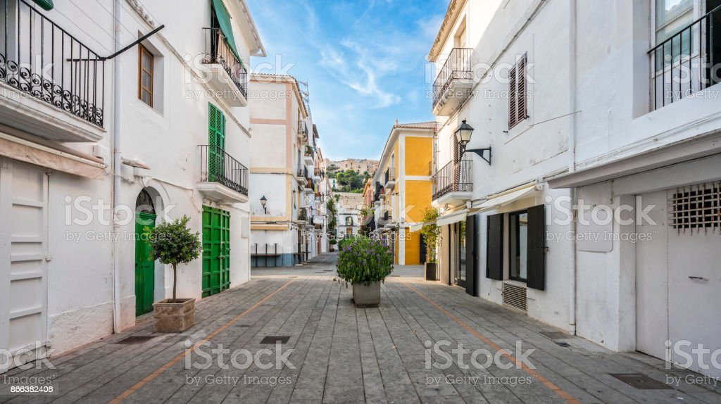 Typical street in old town of Ibiza, Balearic Islands, Spain royalty-free stock photo