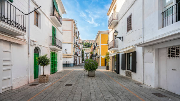 Typical street in old town of Ibiza, Balearic Islands, Spain stock photo