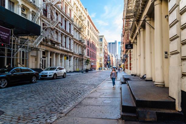 Typical street in Soho in New York stock photo