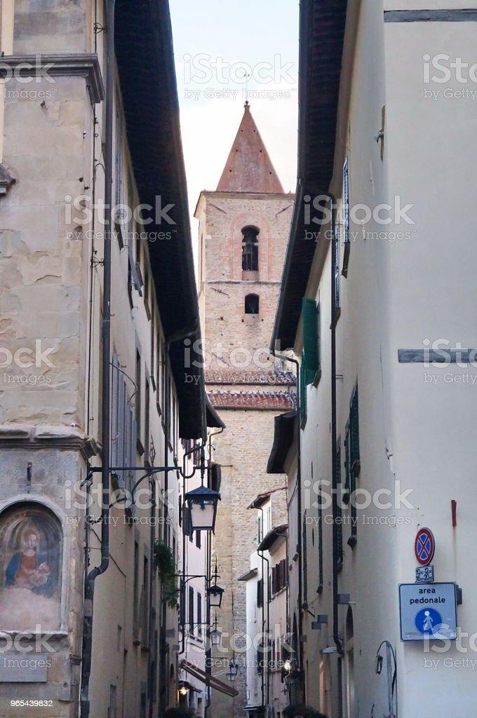 Typical street in the center of Arezzo zbiór zdjęć royalty-free