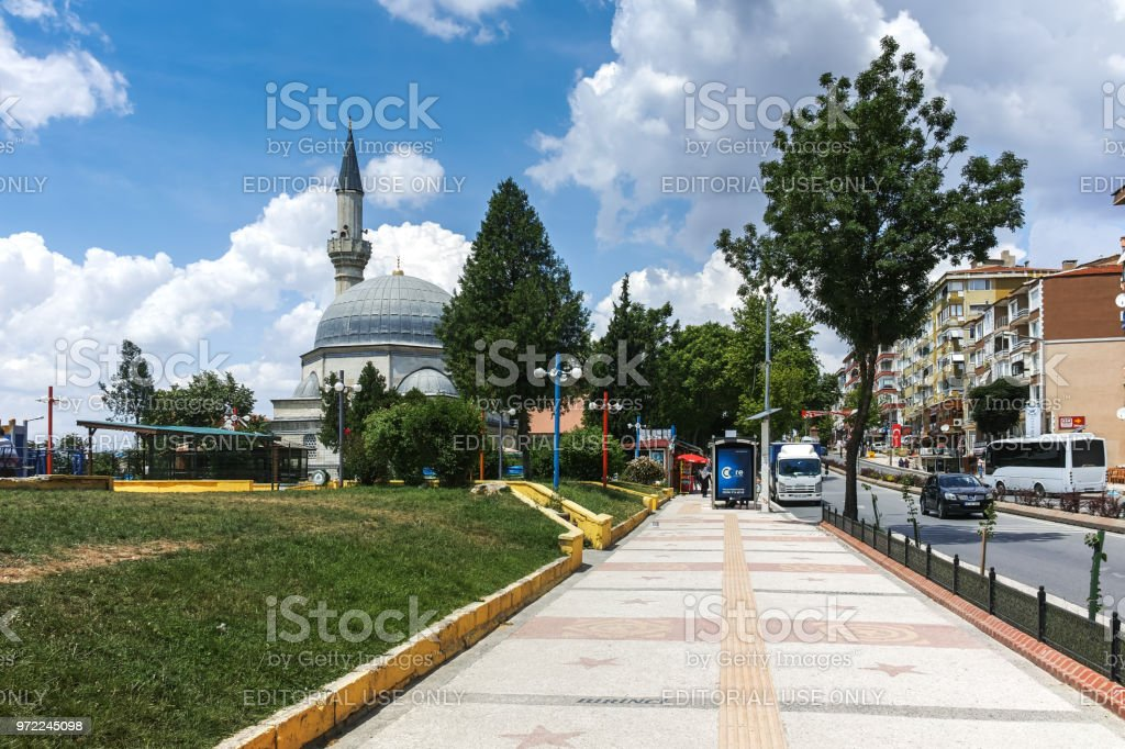 Typical street in the center of city of Edirne,  East Thrace, Turkey stock photo