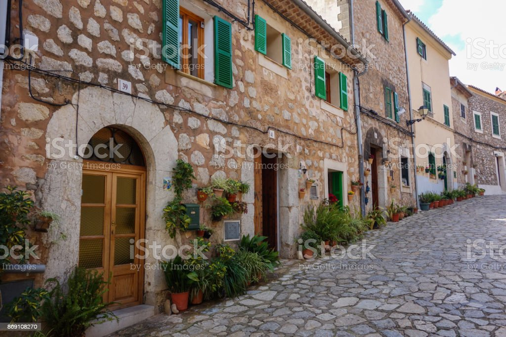 Typical street in Valldemosa stock photo