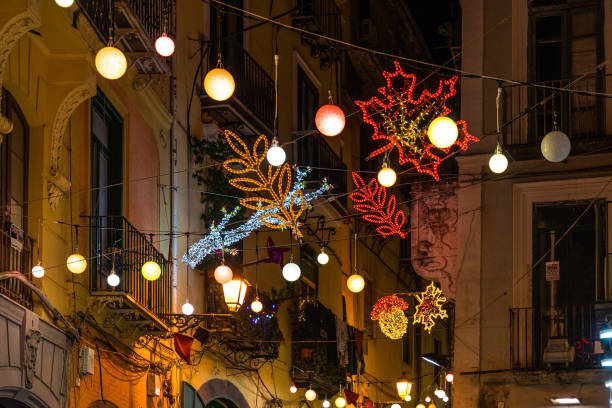 A typical street of Salerno illuminated with lights during Christmas holidays, Campania, Italy stock photo