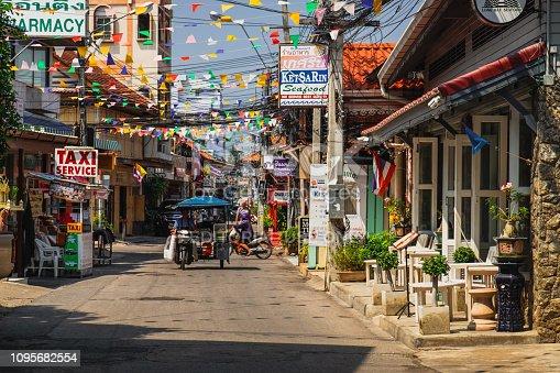 Hua Hin, Thailand - February 13, 2018: Typical street scene in Hua Hin. Hua Hin is a beach resort town near Bangkok, Thailand.