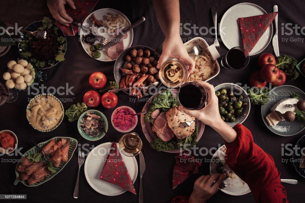 Typical swedish scandinavian christmas smörgåsbord food stock photo