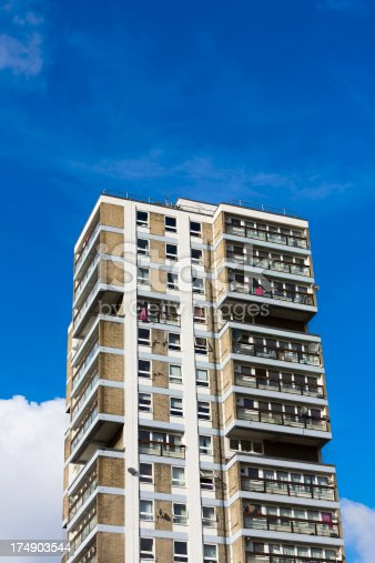 Typical tower block on a council estate in SW London.