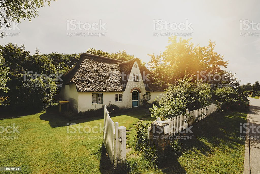 Typical traditional home on island Amrum, Germany stock photo