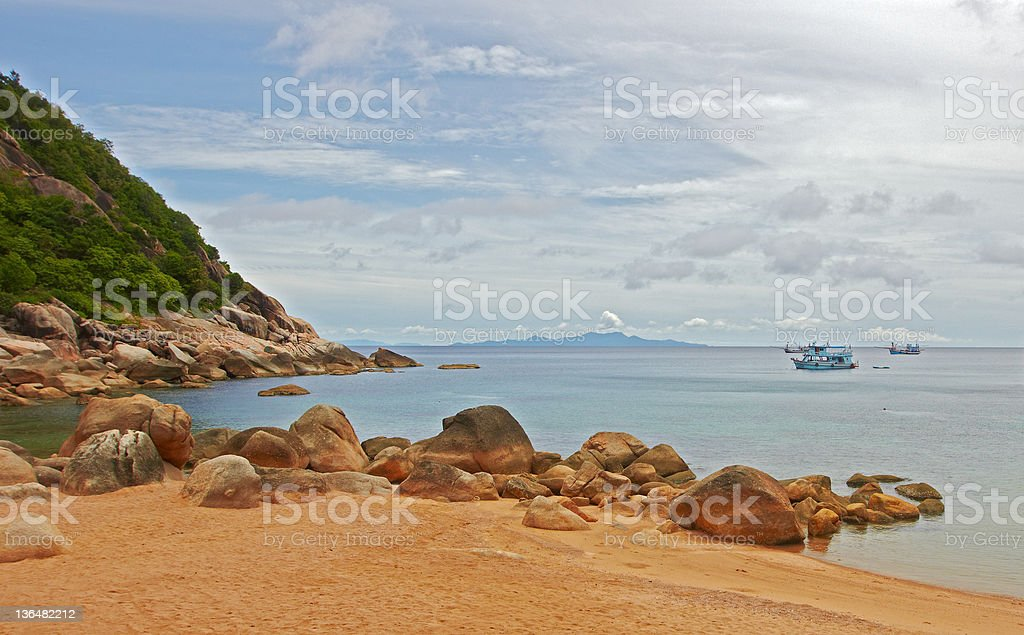 Typical tropical island landscape - Sea and sand beach stock photo