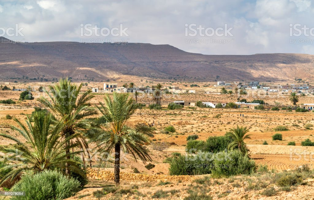 Typical Tunisian landscape at Ksar Ouled Soltane near Tataouine stock photo