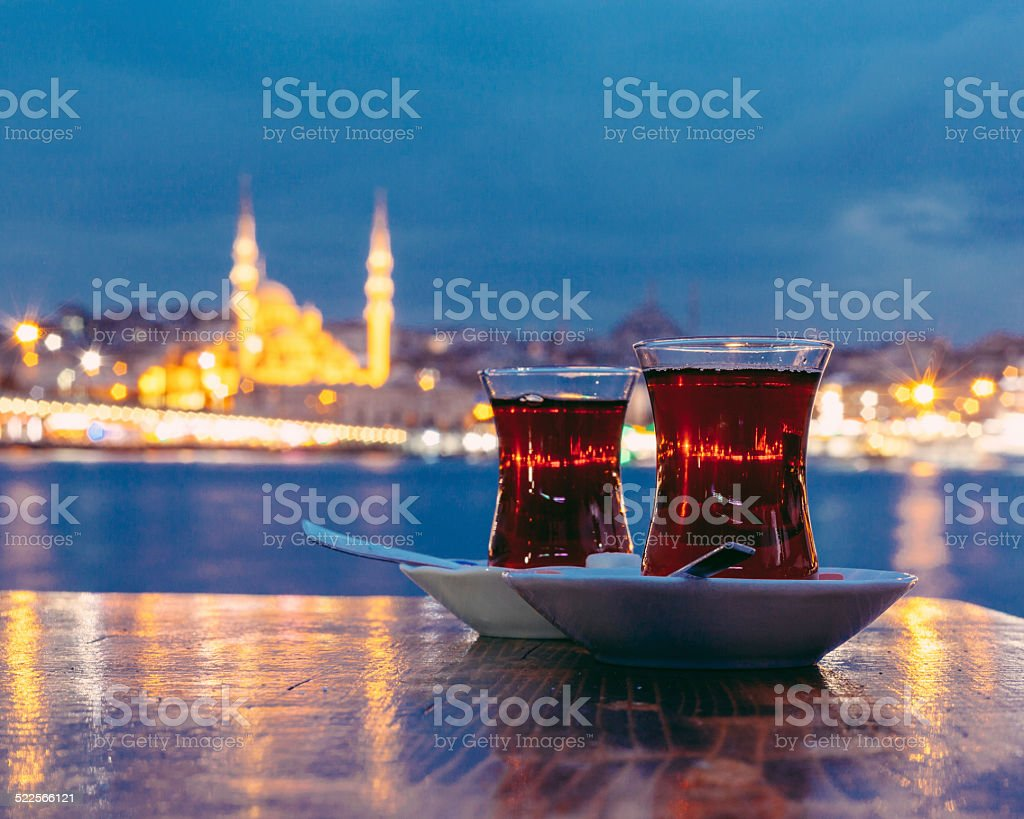 Typical Turkish Tea with Istanbul City on Background stock photo