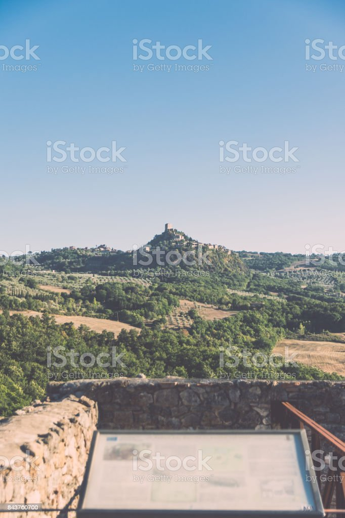 Typical Tuscan Landscape looking San Quirico d'Orcia, Tuscany, Italy. stock photo