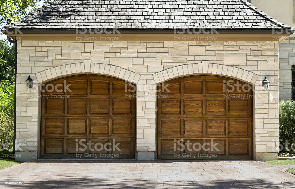 Typical two car wooden oak garage stock photo