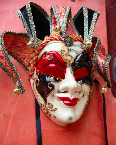 Typical Venetian carnival masks, Vintage. Halloween party Venice carnival mask. stock photo