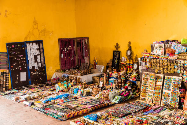a typical view in cartagena colombia - cartagena museum stock photos and pictures