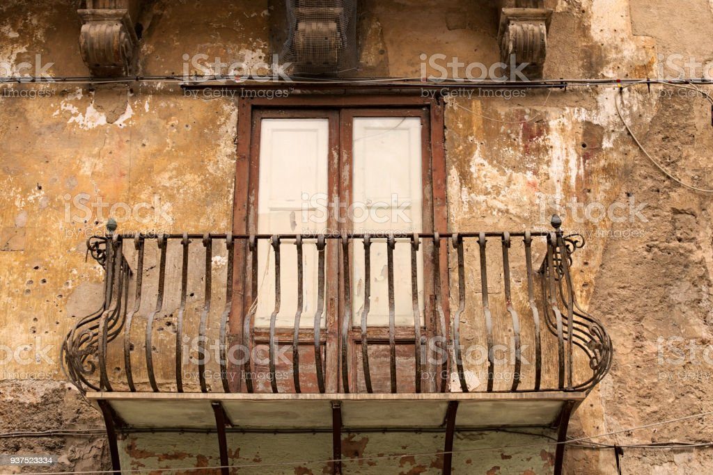 Typical View Of The Balcony In The Historic City Old House ...