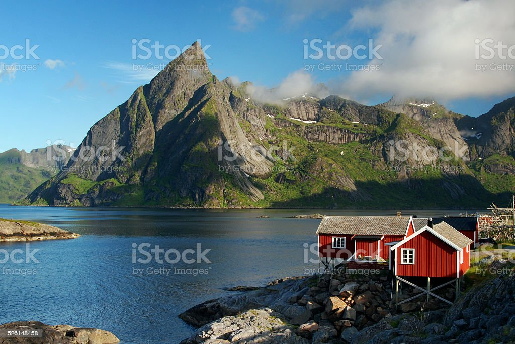 Typical view of the Lofoten islands, Norway stock photo