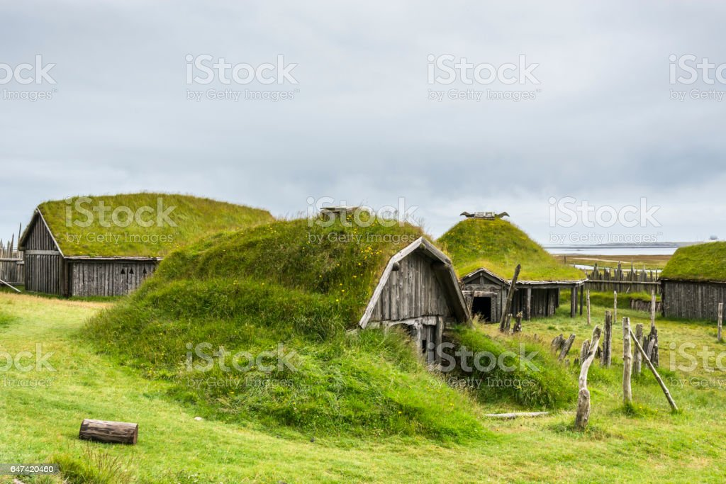 Typical Viking's village. Wooden houses near Vestrahorn mountains on the Stokksnes Peninsula, Hofn, Iceland stock photo