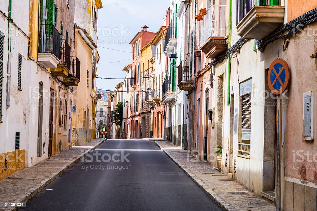 typical village alley in majorca, soller stock photo