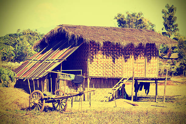 Typical village in North Myanmar (Burma), retro effect. Typical village in North Myanmar (Burma), retro effect. myitkyina photos stock pictures, royalty-free photos & images