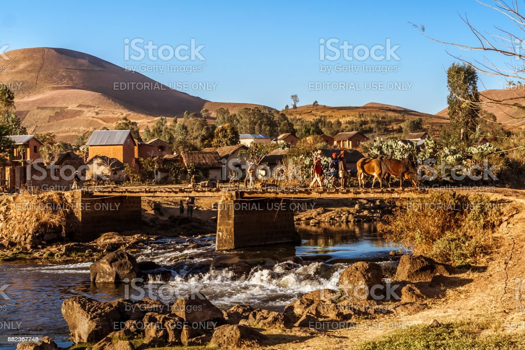Typical village stock photo
