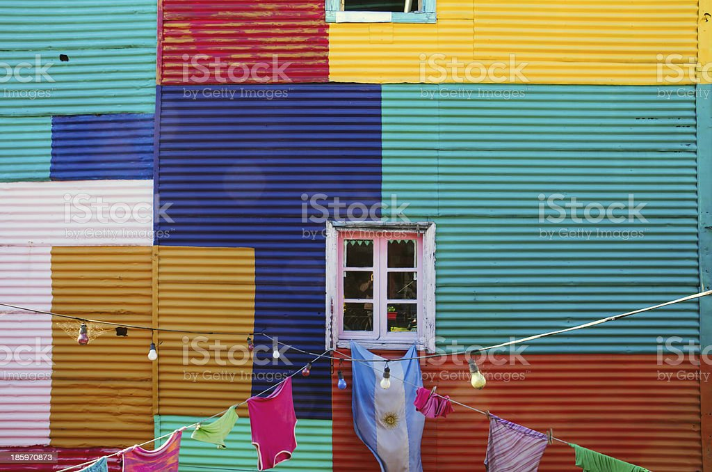 Typical wall in La Boca stock photo
