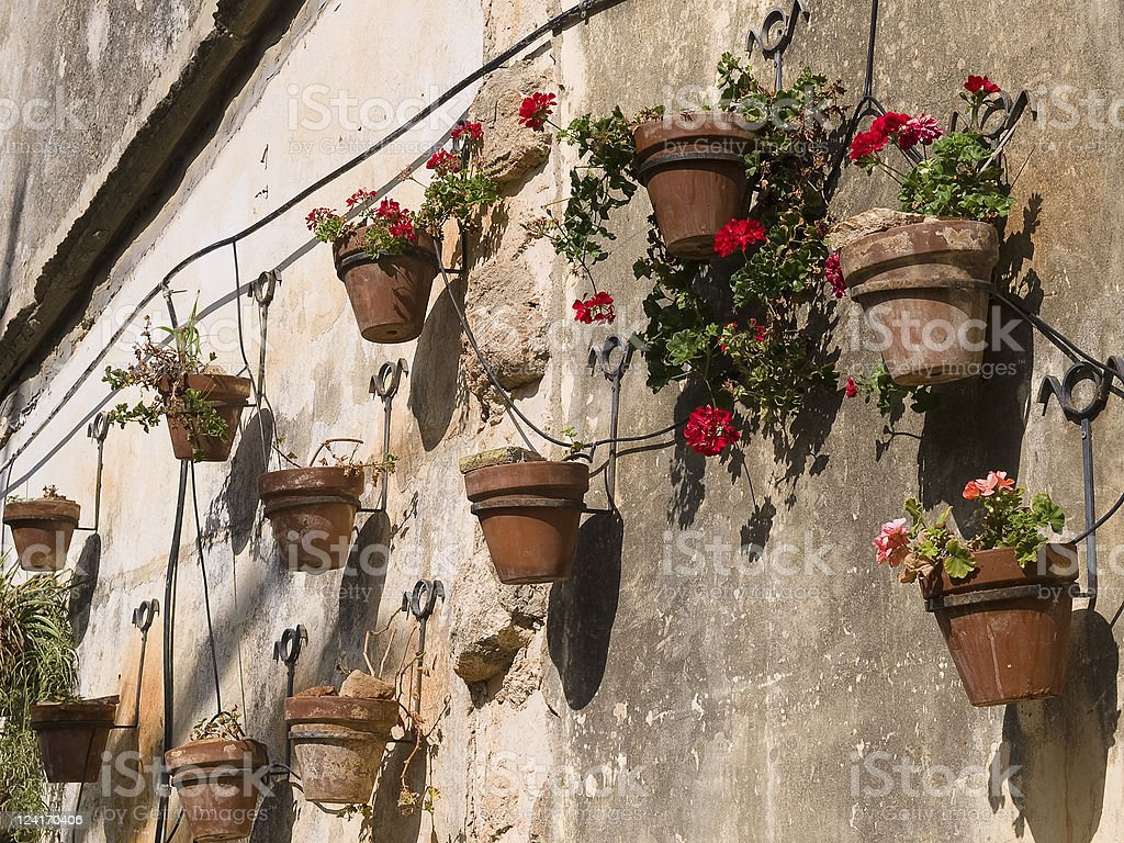 Typical wall planter pots Tuscany Italy style royalty-free stock photo