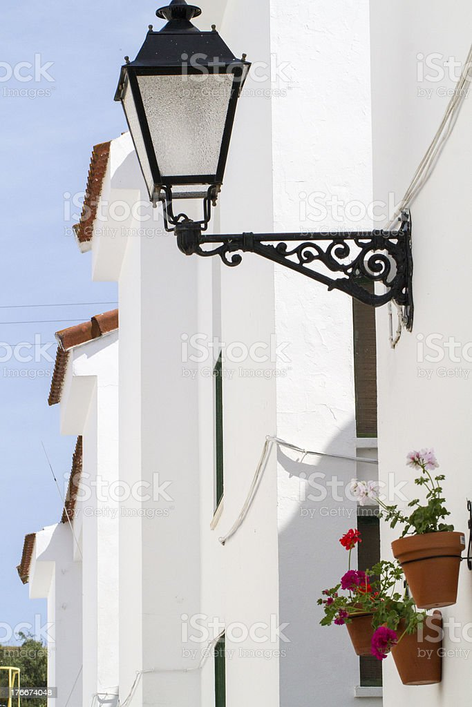 typical white houses with red rooftops located in Portugal royalty-free stock photo