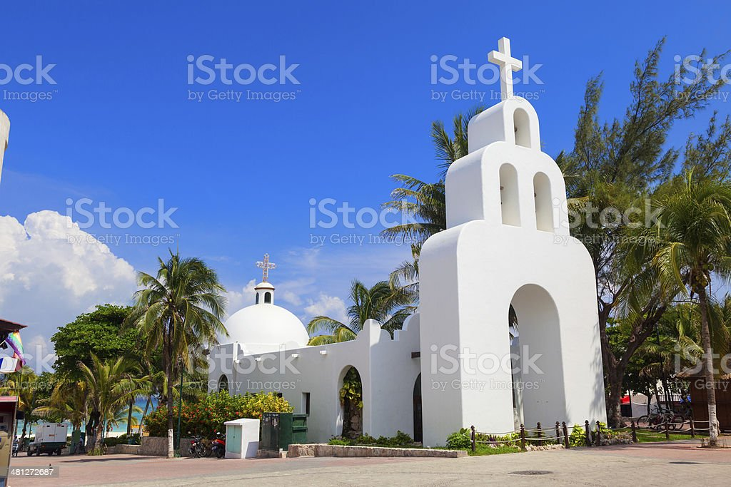 Typical white Mexican church stock photo