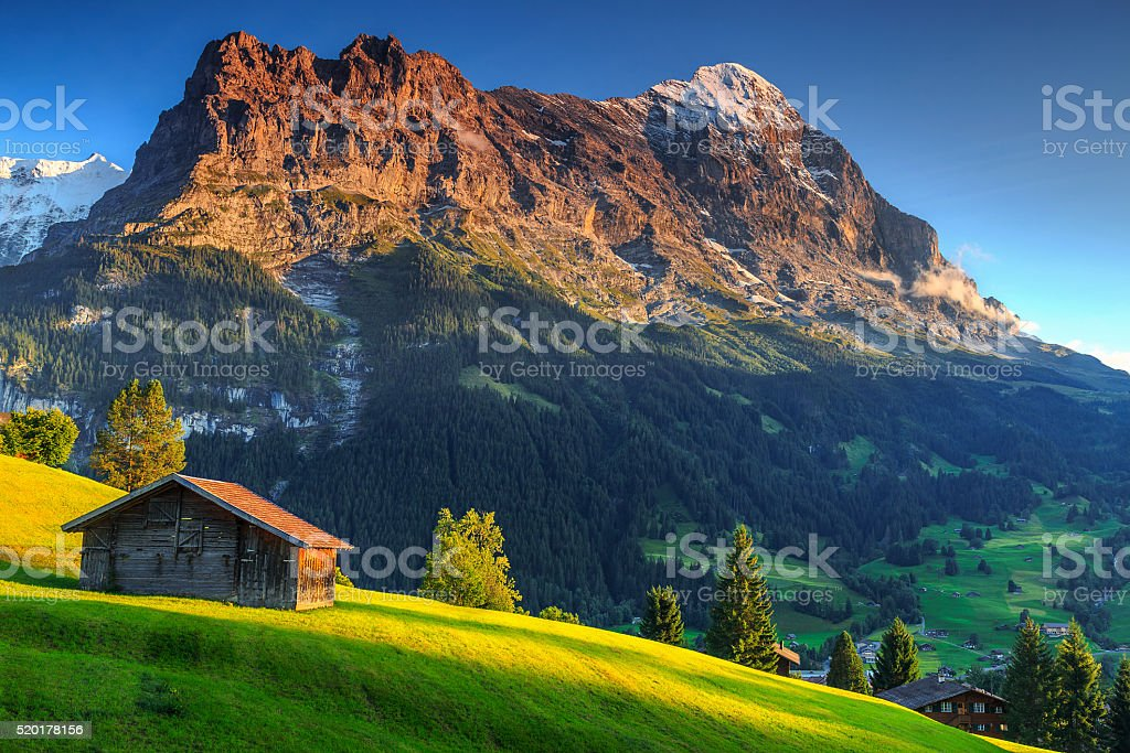 Typical wooden alpine chalets,Eiger North face,Grindelwald,Switzerland,Europe stock photo